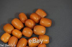 300y. Old Prayer Worry Beads Egg Yolk Yellow Butterscotch Natural Amber Stone 50g