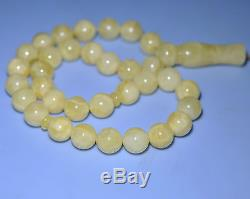 31.5 g. 11 mm Egg Yolk Butterscotch Amber Misbaha Tasbih Islamic Prayers 33 Beads