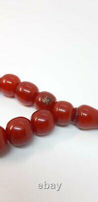 33.7 Antique Faturan Cherry Amber Prayer Rosary Beads Misbah Marbled