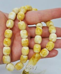 37.16g Natural Antique Baltic Amber ISLAMIC 33 PRAYER BEADS ROSARY 12x9mm