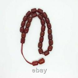 49.5 Grams Antique Faturan Cherry Amber Rosary Prayer Beads With Veins/Marbled