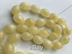 67gr. White Baltic Amber Premium Islamic Prayer Rosary Olive Beads Tesbih Misbah