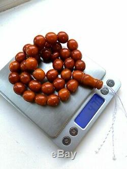 82808 Antique amber prayer beads old baltic islamic rosary 47 grams