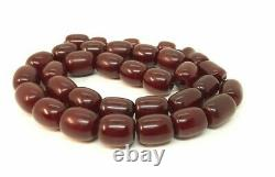 98.7 Grams Antique Faturan Cherry Amber Prayer Rosary Beads Misbah Marbled