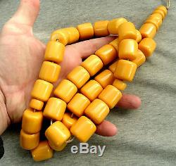 Antique Large Butterscotch Amber Bakelite Catalin Full 33 Prayer Beads & Imame