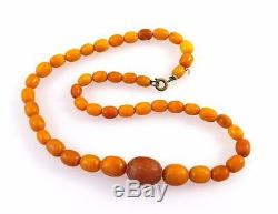 ANTIQUE NATURAL BALTIC BUTTERSCOTCH EGG YOLK AMBER BEADS PRAYER NECKLACE 14g