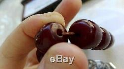 ANTIQUE OLD OTTOMAN CHERRY AMBER KEHRIBAR Misbaha OSMANLI SIKMA 17 BEADS 34 GR