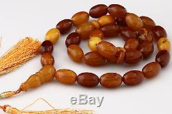 ANTIQUE STYLE Butterscotch Islamic 33 Prayer Beads BALTIC AMBER 54.4g i151112-13