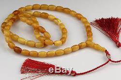 ANTIQUE STYLE Butterscotch Islamic 66 Prayer Beads BALTIC AMBER 30.8g i151112-12