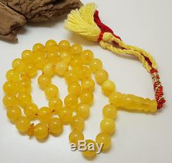 Amber Islamic Prayer Tasbih Beads 45ps Natural Baltic Genuine30.2g Egg Yolk V-13