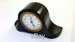 Antique 1930s Old amber Bakelite Desk Clock Cherry Blue Veined RAR 236 Gram