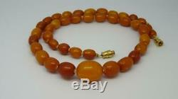 Antique Butterscotch Baltic Amber Bead Necklace 100% Natural 16, (Prayer Beads)