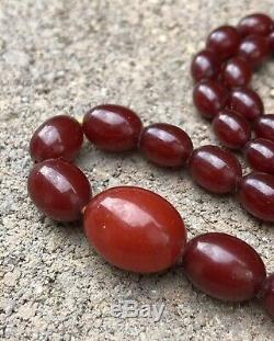 Antique Cherry Red Amber Bakelite Faturan Olive Beads Graduated Prayer Necklace