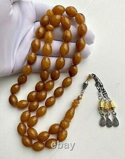 Antique German Pressed Natural Amber 65g. Islamic Prayer Rosary Big Olive Beads