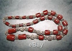 Antique Handmade Amber Faturan Necklace With Metal Beads Before 1930