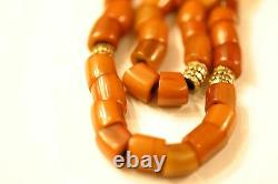 Antique Morracan Mastic Amber Prayer Beads With Gold Plated Decorations, 50 G