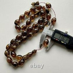 Antique Natural Baltic Amber Islamic Prayer Rosary 72g. Big Olive Beads Heated