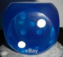 Antique Old Amber Bakelite gambeling dice XXL cube BLUE 404gr 3inches Germany