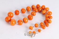 Antique Old Natural Baltic Amber Butterscotch 64gr. Beads Necklace