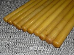 Antique Vintage 10x Amber Bakelite Catalin Dice Rod Block White / Yellow 7,2 KG