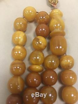 Antique butter scotch Egg Yolk baltic amber islamic prayer 33 beads 28 Grams