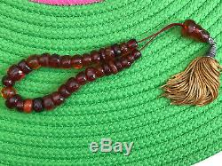 Antique old baltic amber prayer-worry beads necklace butterscotch. 1850-1900