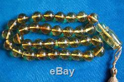 BALTIC AMBER WITH FOSSIL INSECTS IN EACH PRAYER BEADS 92 grams