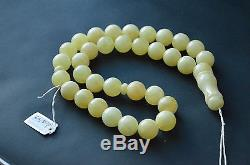 Baltic Amber Islamic Rosary Misbaha 33 round amber beads milky color 65.5 grams