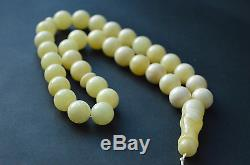 Baltic Amber Islamic Rosary Tasbih 33 round amber beads white color 54.40 grams