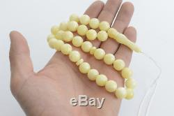 Baltic Amber Misbaha Chaplet Handmade Amber Rosary 12mm Beads Milky White Color