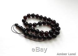 Baltic Amber Misbaha Islamic Prayer Beads Cherry Color 12.7 mm 41g #ET0071