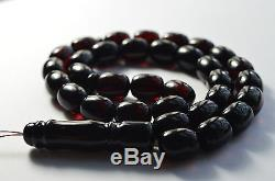 Barreled Amber Beads Unique Baltic Amber Misbaha Prayer Beads 64g Red Cherry