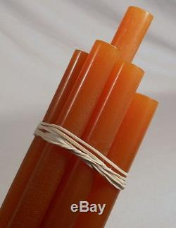 Beautiful rare lot of galalith orange amber marbled 8 rods 270grams