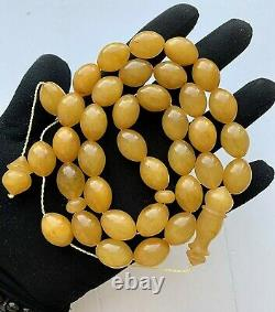 Big 71g. Antique Egg Yolk Natural Baltic Amber Islamic Prayer Rosary Olive Beads