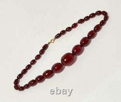 CHERRY AMBER BAKELITE MARBLED FATURAN OVAL BEADS NECKLACE 38.3 gms PRAYER WORRY