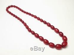 Cherry Amber Bakelite 107 Grams Marbled Faturan Oval Beads Necklace Prayer Worry