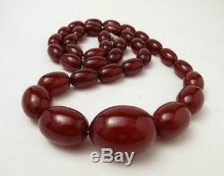Cherry Amber Bakelite Marbled Faturan Oval Beads Necklace 86 Grams Prayer Worry