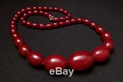 Cherry Amber Faturan Bakelite Oval Beads Necklace 86 Grams Prayer Worry Marbled