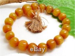Delicate Stretchy Tibetan 19 Beeswax Amber Buddhist Prayer Beads Mala Bracelet