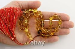 FOSSIL INSECTS Islamic 33 Round Prayer Beads 11mm BALTIC AMBER TASBIH 28g 29-5