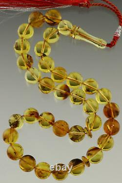 FOSSIL INSECTS Islamic 33 Round Prayer Beads 12mm BALTIC AMBER TASBIH 35.2g 29-4