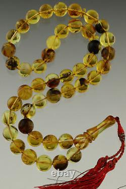 FOSSIL INSECTS Islamic 45 Round Prayer Beads 12mm BALTIC AMBER TASBIH 53.2g 29-2