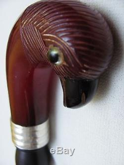 Faturan Parrot Cherry Amber Red Bakelite with veins Cane Silver and Ebony