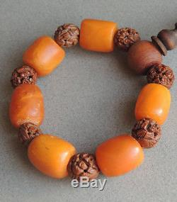 Gorgeous Butterscotch Amber Bracelet Prayer Beads Carved Nuts
