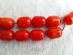 HUGE 212.6gr ANTIQUE RED AMBER BAKELITE 19 PRAYER BEADS withh IMAME TESBIH MISBAHA