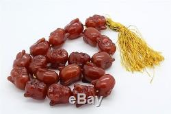 HUGE & HEAVY Chinese Amber Buddha Buddhist 30 Prayer Beads Necklace 390g RBS NR