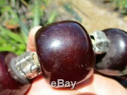 Huge Antique Cherry Amber Bakelite Catalin Islamic Beaded Necklace Old 515 Grams