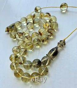 INCLUSION INSECT Natural Baltic Amber Islamic Prayer Rosary 11.5mm. Beads Tesbih