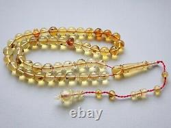 Insect fossil Baltic Amber prayer beads 45 beads 9mm Tesbih Misbaha F24