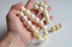 Intense Milky White Misbaha Rosary Pure 33 Baltic Amber Islamic Worry Beads 77 g